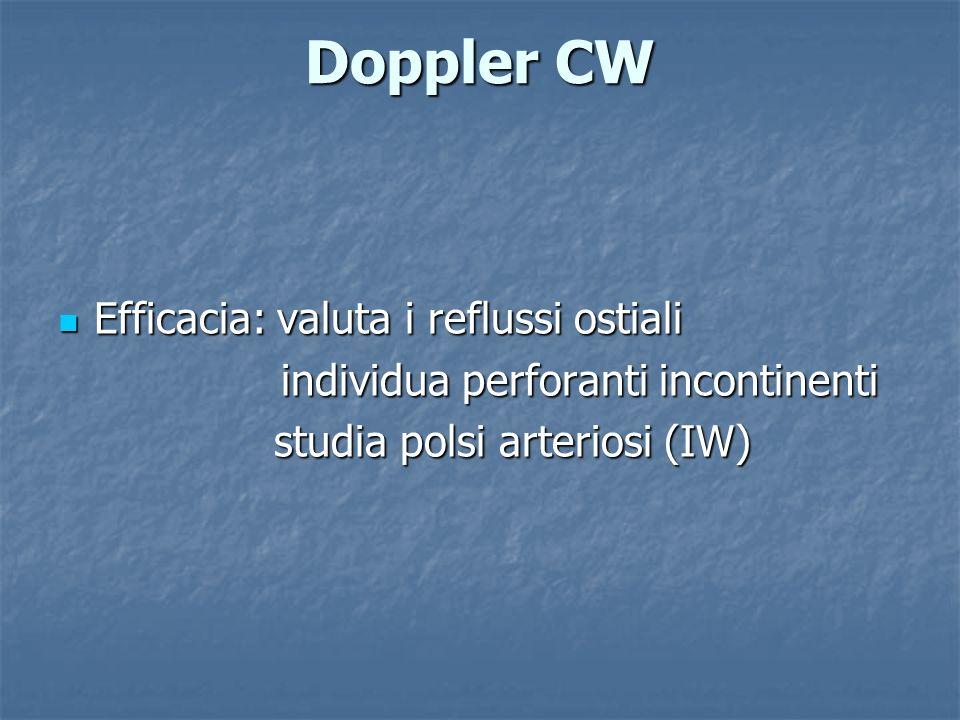 Doppler CW Efficacia: valuta i reflussi ostiali