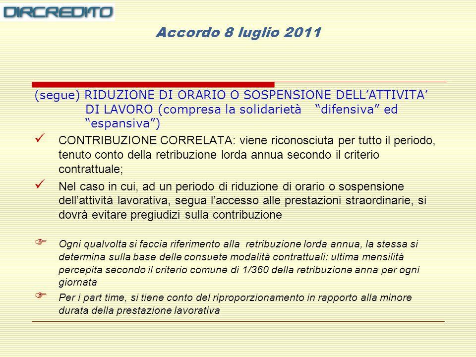 Accordo 8 luglio 2011 (segue) RIDUZIONE DI ORARIO O SOSPENSIONE DELL'ATTIVITA' DI LAVORO (compresa la solidarietà difensiva ed espansiva )