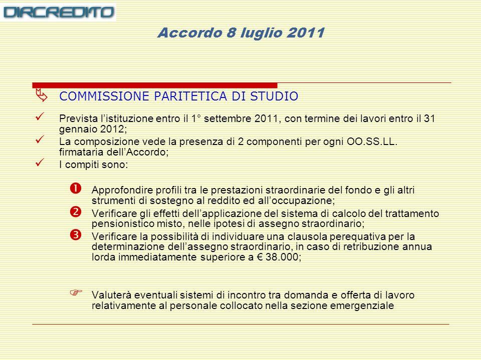 Accordo 8 luglio 2011 COMMISSIONE PARITETICA DI STUDIO