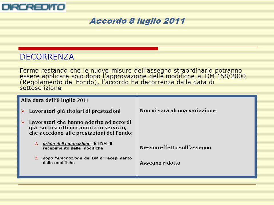 Accordo 8 luglio 2011 DECORRENZA