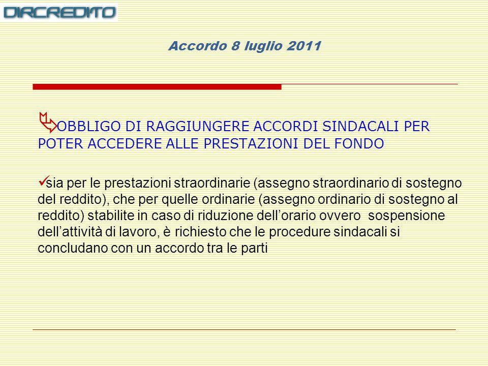 Accordo 8 luglio 2011 OBBLIGO DI RAGGIUNGERE ACCORDI SINDACALI PER POTER ACCEDERE ALLE PRESTAZIONI DEL FONDO.