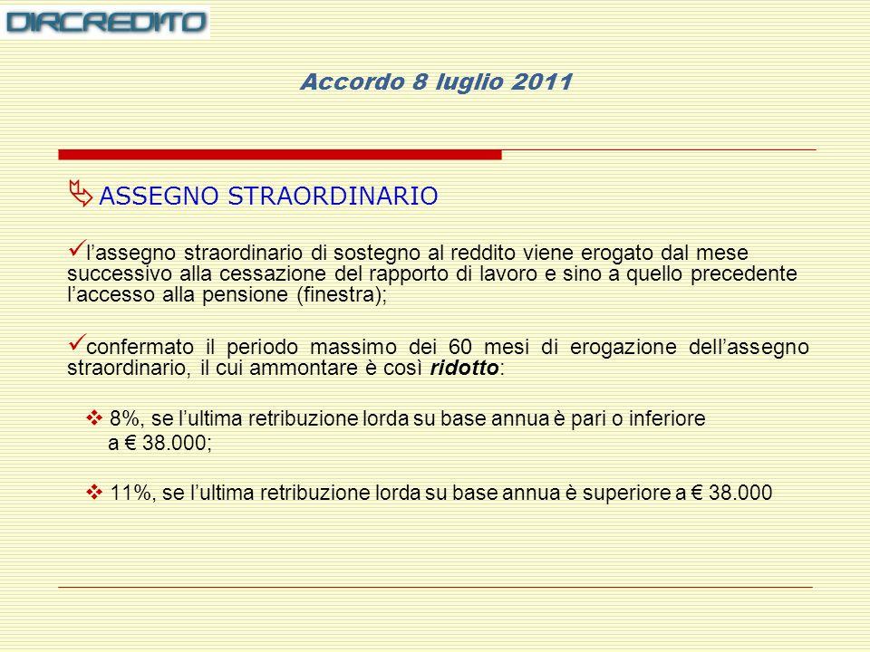 Accordo 8 luglio 2011 ASSEGNO STRAORDINARIO