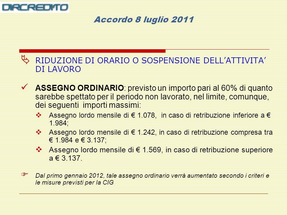 Accordo 8 luglio 2011 RIDUZIONE DI ORARIO O SOSPENSIONE DELL'ATTIVITA' DI LAVORO.