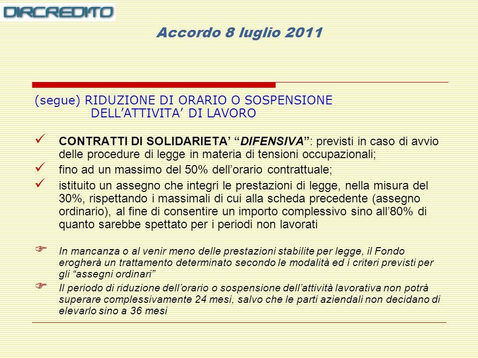 Accordo 8 luglio 2011 (segue) RIDUZIONE DI ORARIO O SOSPENSIONE DELL'ATTIVITA' DI LAVORO.