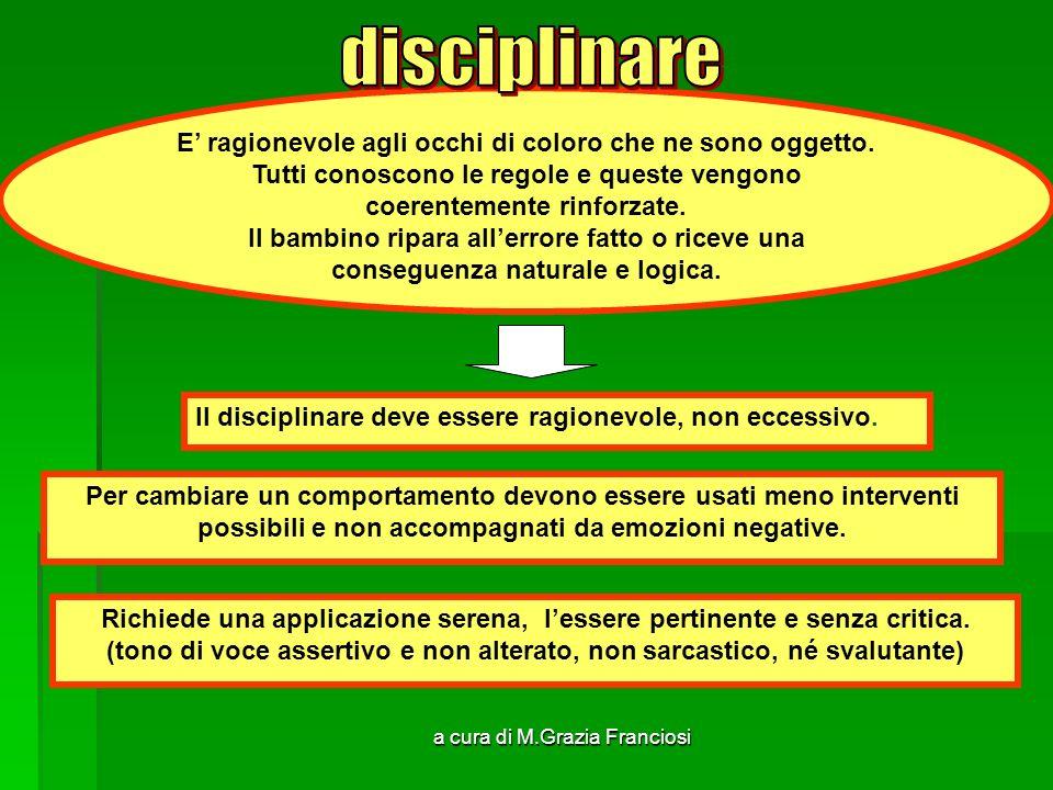 disciplinare E' ragionevole agli occhi di coloro che ne sono oggetto.