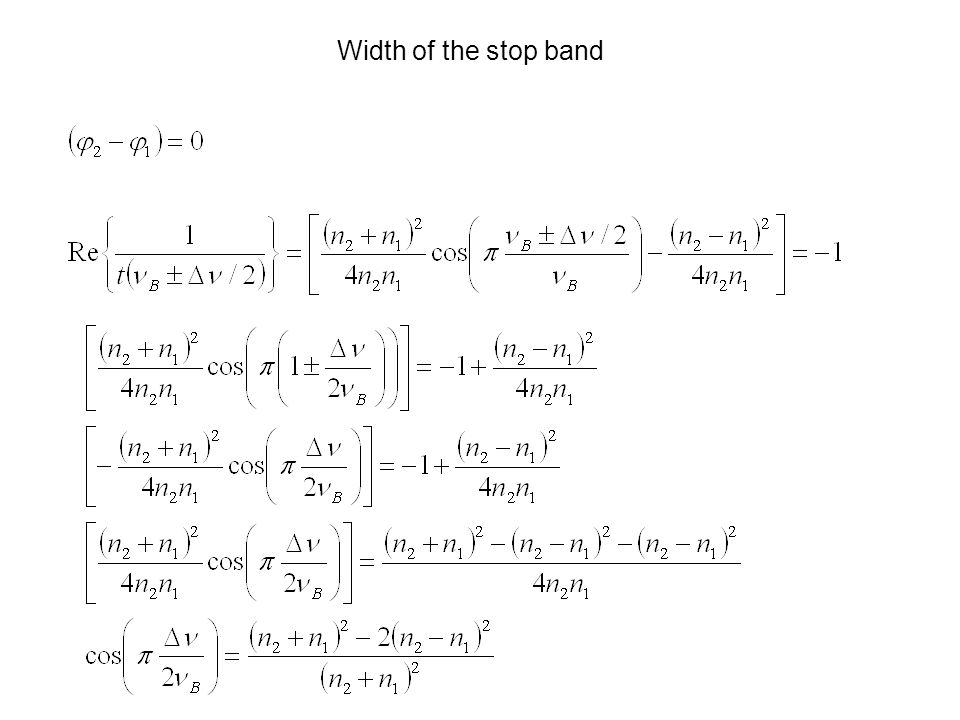 Width of the stop band