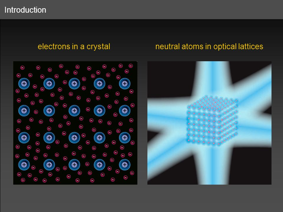 Introduction electrons in a crystal neutral atoms in optical lattices