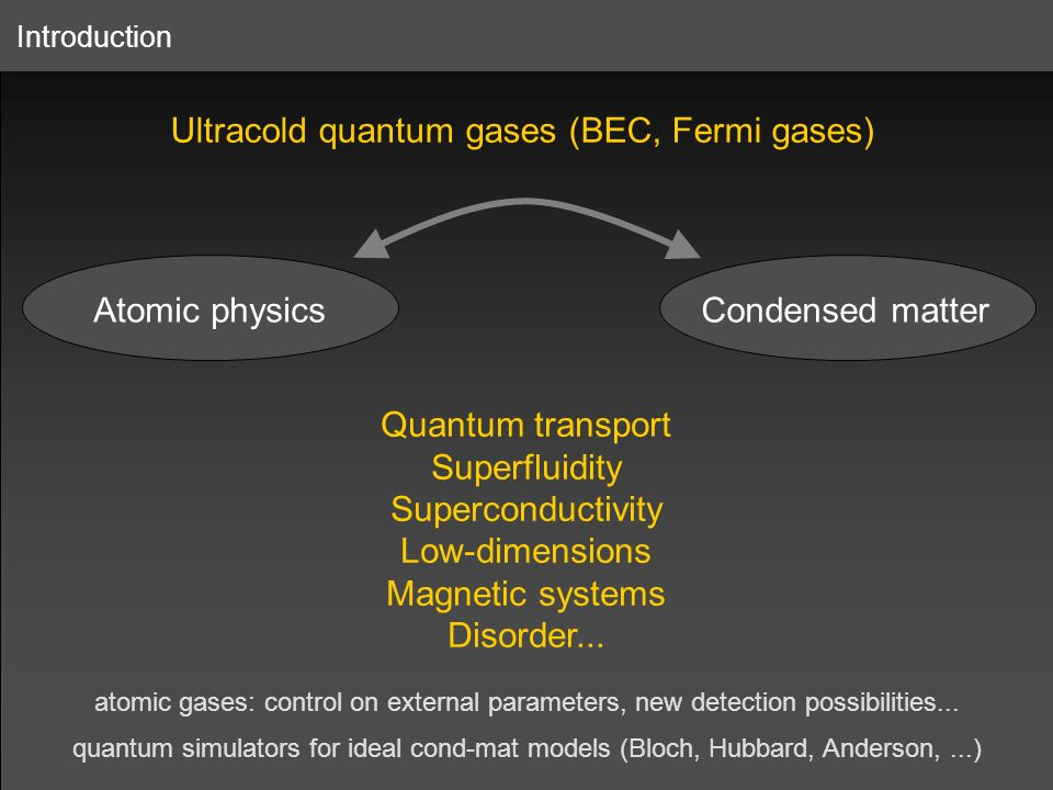 Ultracold quantum gases (BEC, Fermi gases)