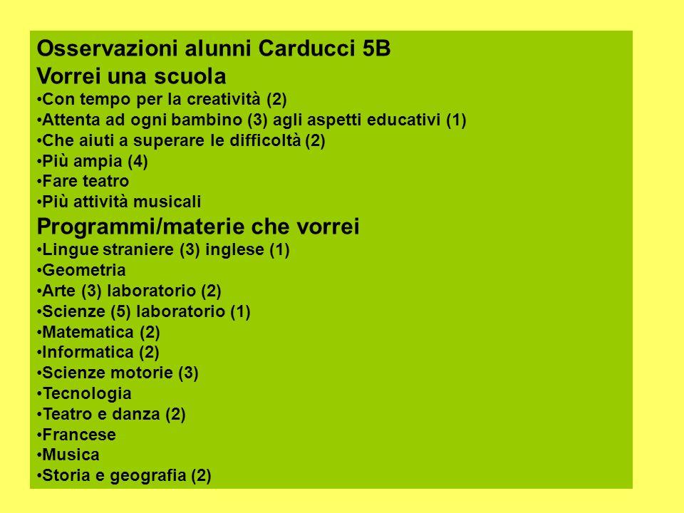 Osservazioni alunni Carducci 5B Vorrei una scuola