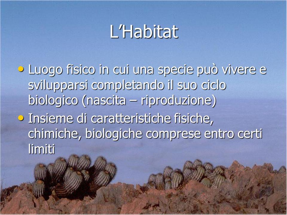 L'Habitat Luogo fisico in cui una specie può vivere e svilupparsi completando il suo ciclo biologico (nascita – riproduzione)