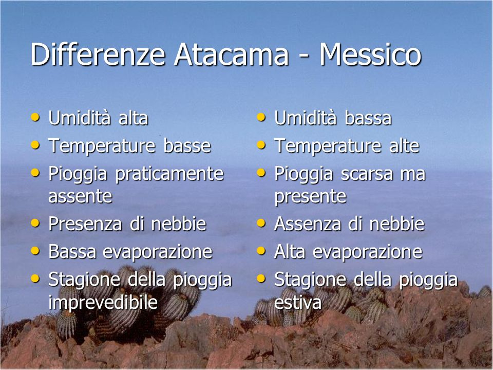 Differenze Atacama - Messico