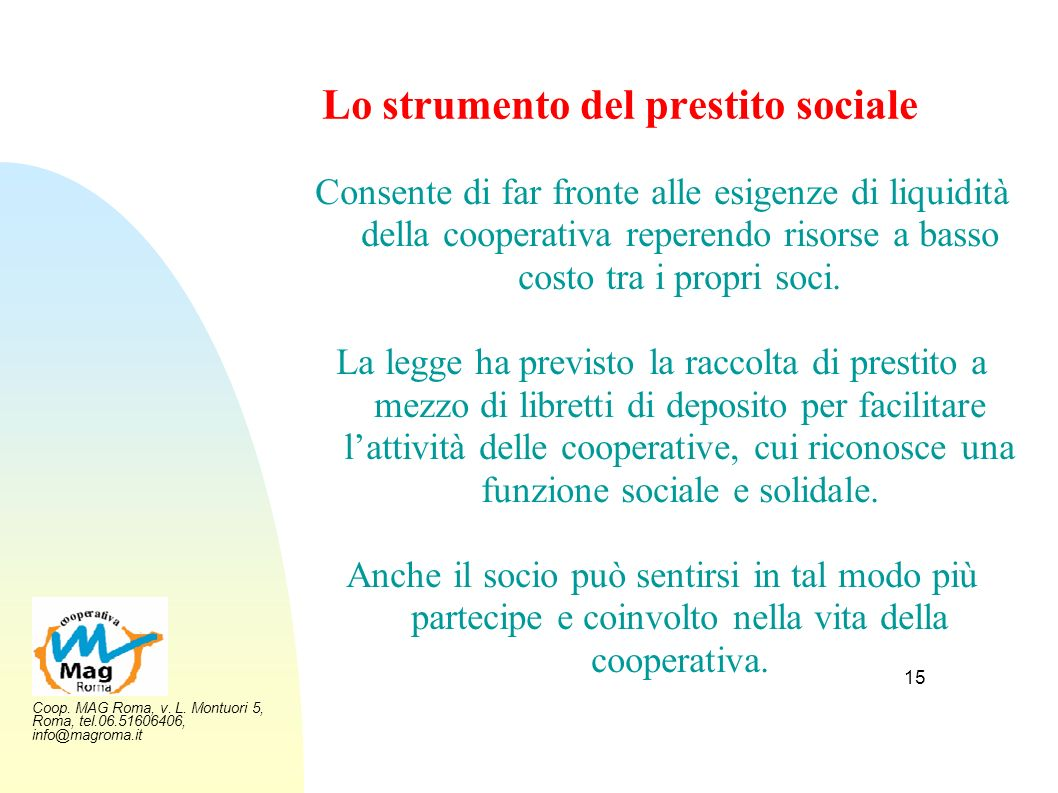 Lo strumento del prestito sociale