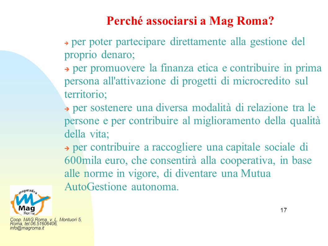 Perché associarsi a Mag Roma