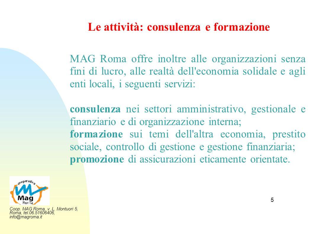 Le attività: consulenza e formazione