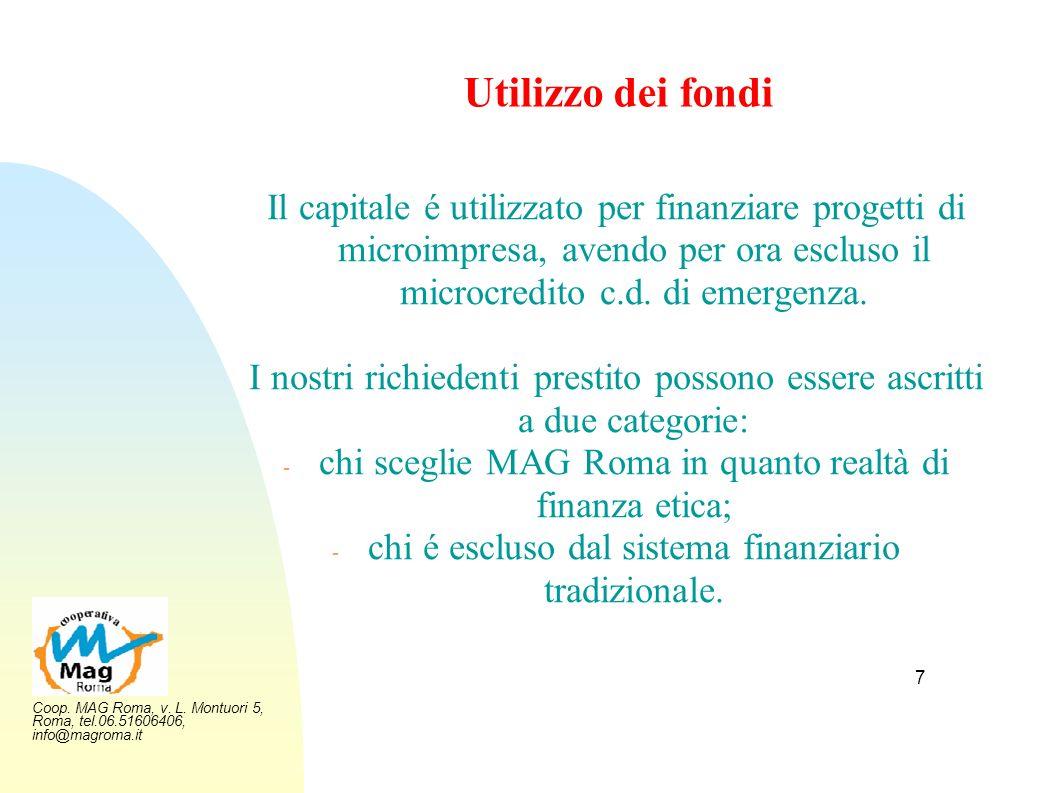Utilizzo dei fondi Il capitale é utilizzato per finanziare progetti di microimpresa, avendo per ora escluso il microcredito c.d. di emergenza.