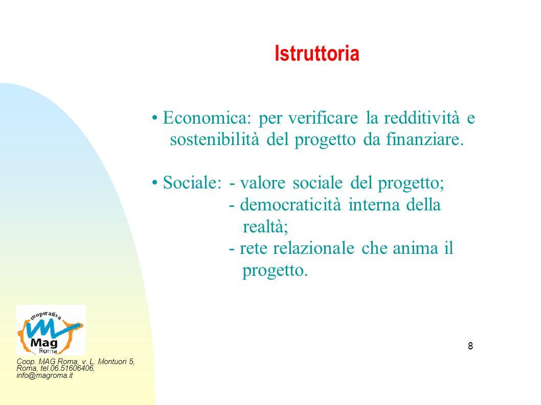 Istruttoria • Economica: per verificare la redditività e sostenibilità del progetto da finanziare. • Sociale: - valore sociale del progetto;
