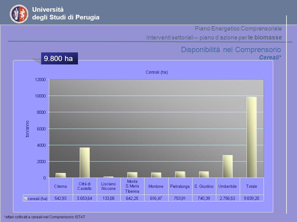 Disponibilità nel Comprensorio 9.800 ha