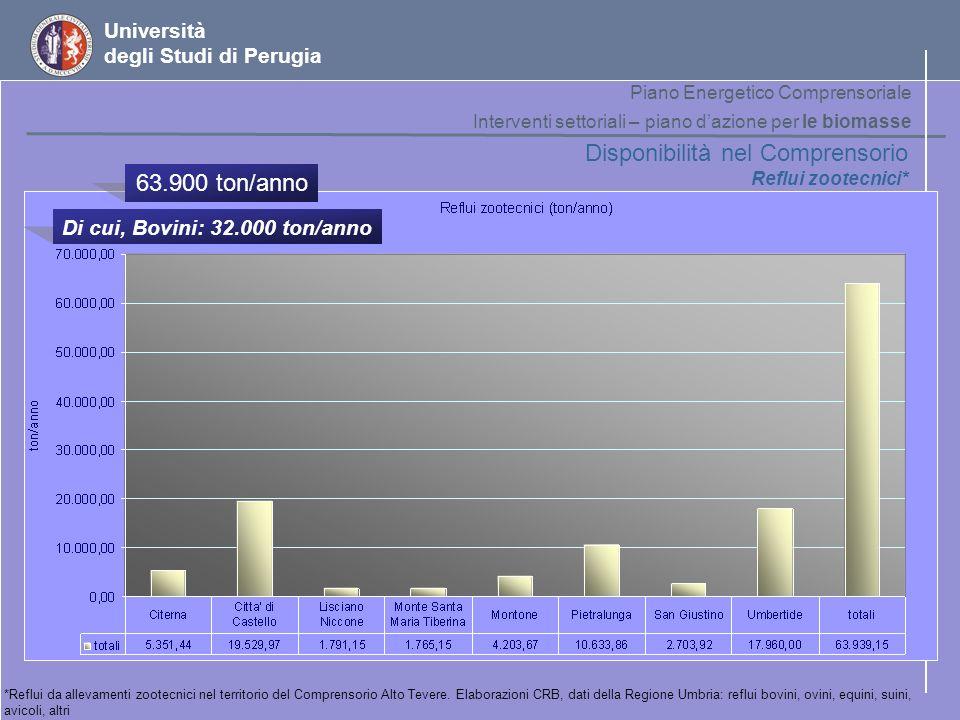 Disponibilità nel Comprensorio 63.900 ton/anno