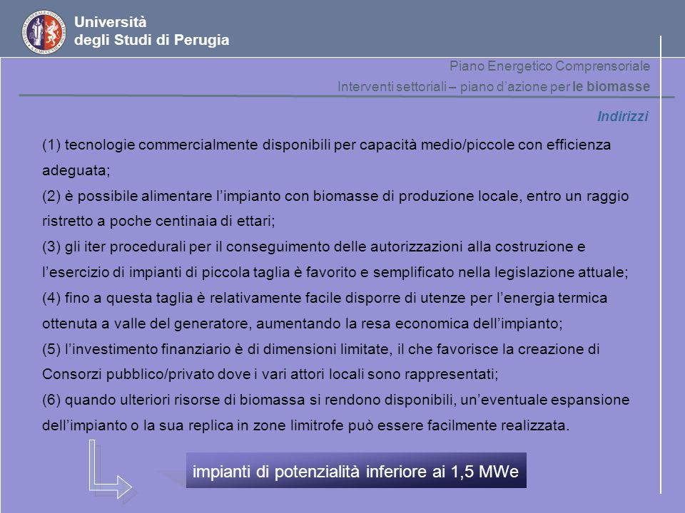 impianti di potenzialità inferiore ai 1,5 MWe