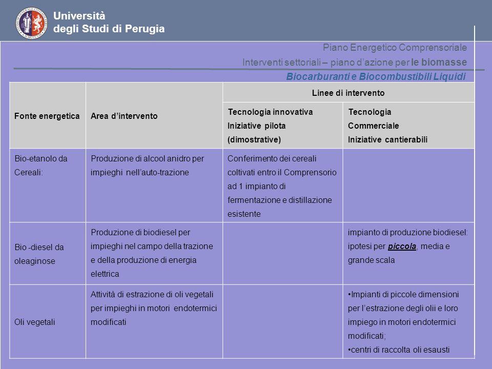 Università degli Studi di Perugia Piano Energetico Comprensoriale