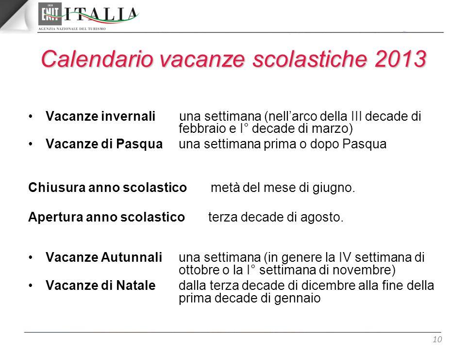 Calendario vacanze scolastiche 2013