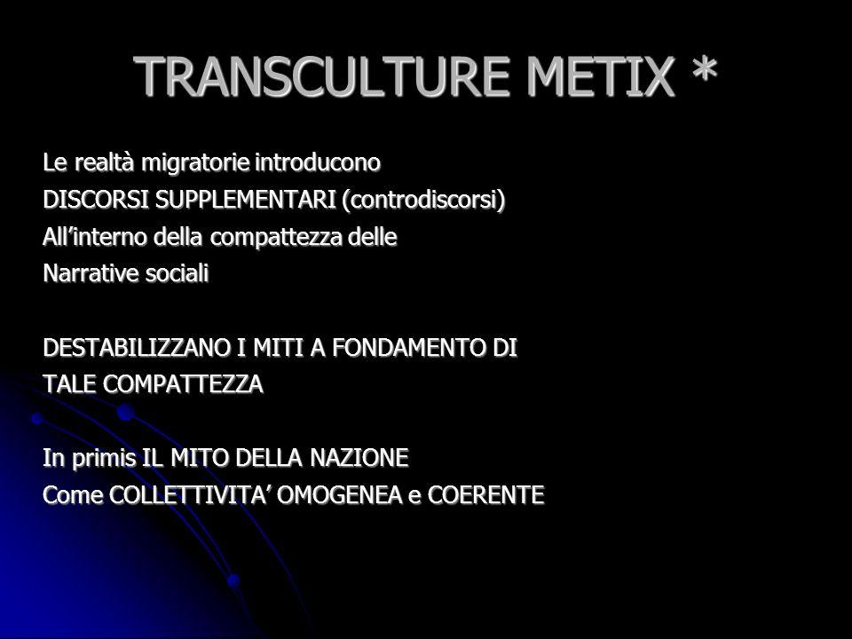 TRANSCULTURE METIX * Le realtà migratorie introducono