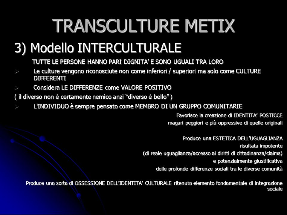 TRANSCULTURE METIX 3) Modello INTERCULTURALE