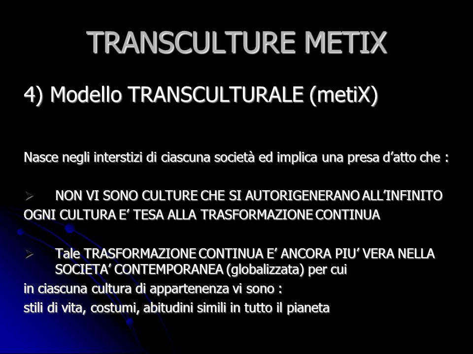 TRANSCULTURE METIX 4) Modello TRANSCULTURALE (metiX)