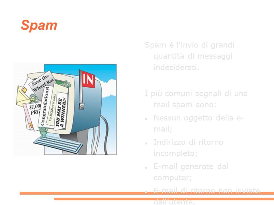 Spam Spam è l invio di grandi quantità di messaggi indesiderati.