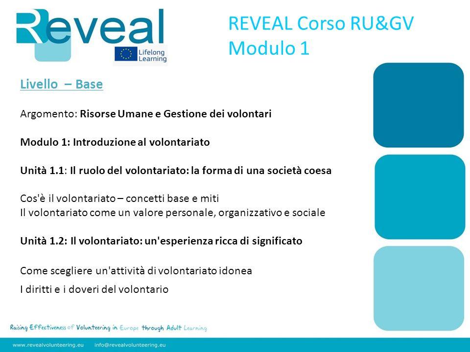REVEAL Corso RU&GV Modulo 1 Livello – Base