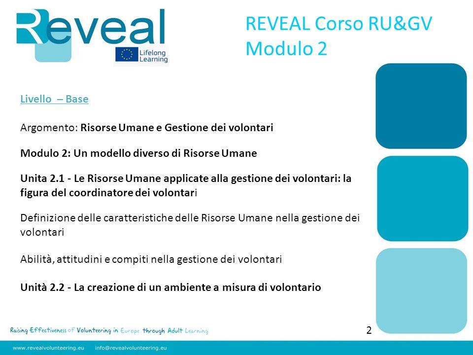 REVEAL Corso RU&GV Modulo 2