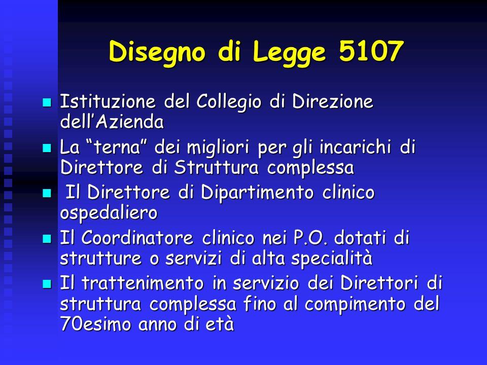 Disegno di Legge 5107 Istituzione del Collegio di Direzione dell'Azienda.