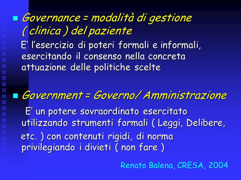 Governance = modalità di gestione ( clinica ) del paziente