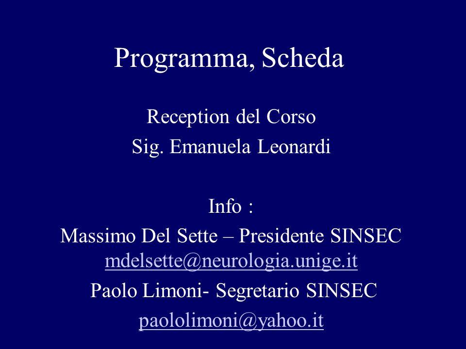 Programma, Scheda Reception del Corso Sig. Emanuela Leonardi Info :