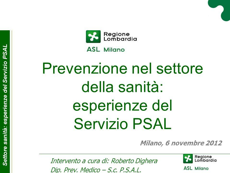 Prevenzione nel settore della sanità: esperienze del Servizio PSAL
