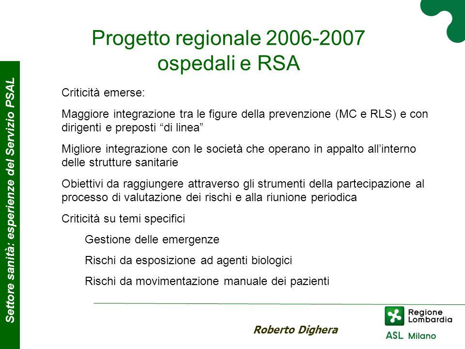 Progetto regionale 2006-2007 ospedali e RSA