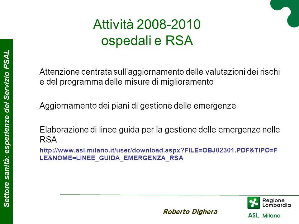 Attività 2008-2010 ospedali e RSA