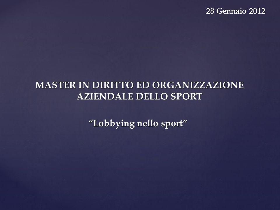 MASTER IN DIRITTO ED ORGANIZZAZIONE AZIENDALE DELLO SPORT