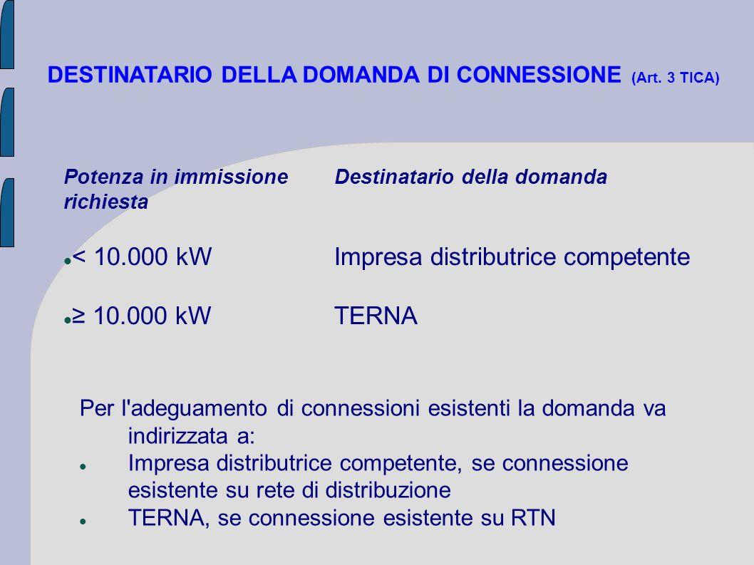 < 10.000 kW Impresa distributrice competente ≥ 10.000 kW TERNA