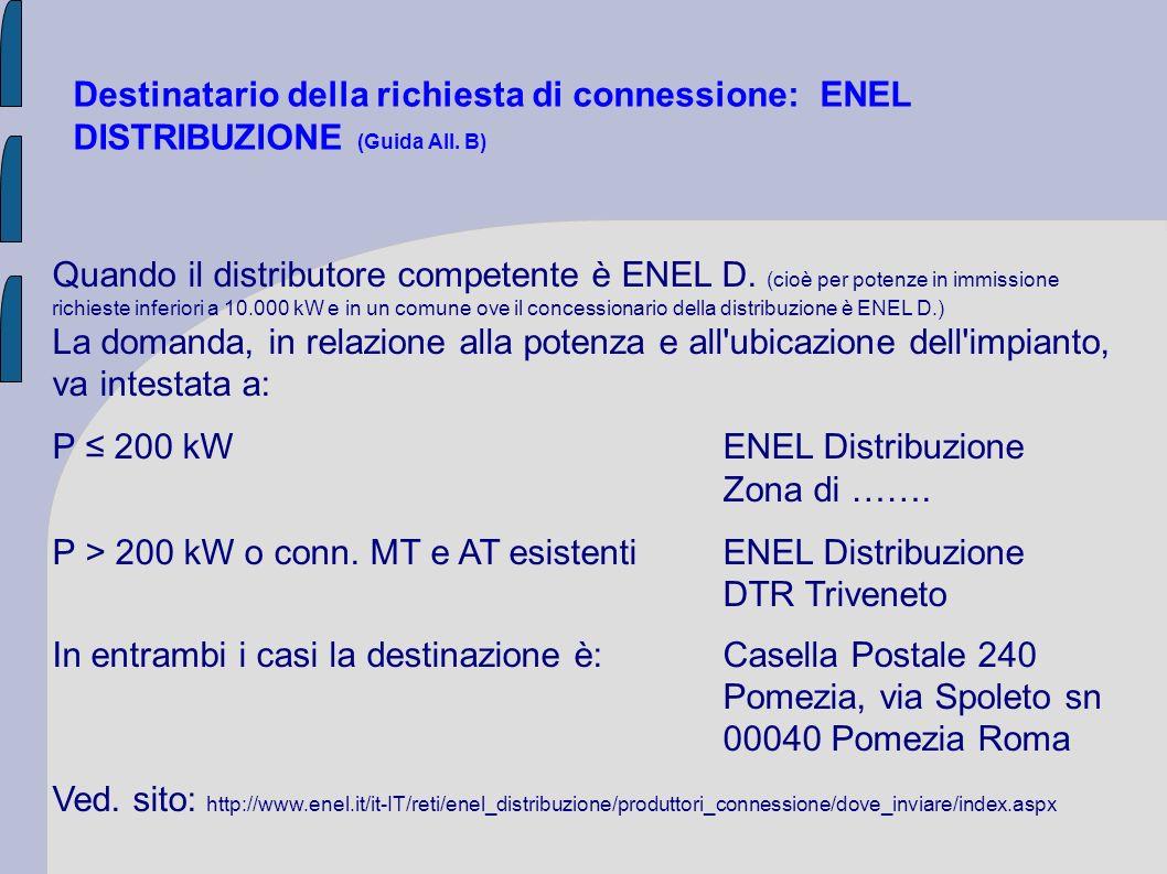 P ≤ 200 kW ENEL Distribuzione Zona di …….
