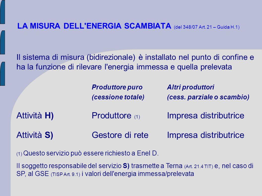 LA MISURA DELL ENERGIA SCAMBIATA (del 348/07 Art. 21 – Guida H.1)
