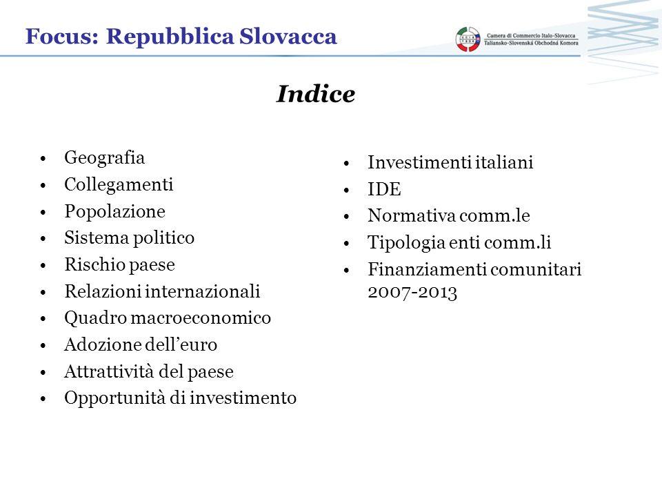 Indice Focus: Repubblica Slovacca Geografia Investimenti italiani