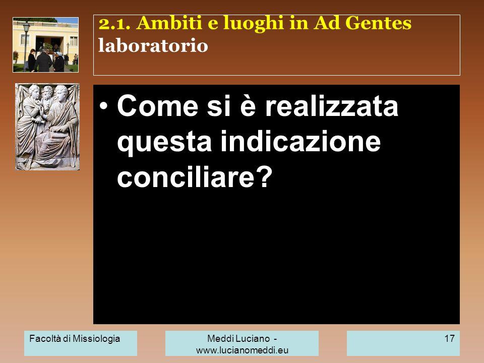 2.1. Ambiti e luoghi in Ad Gentes laboratorio