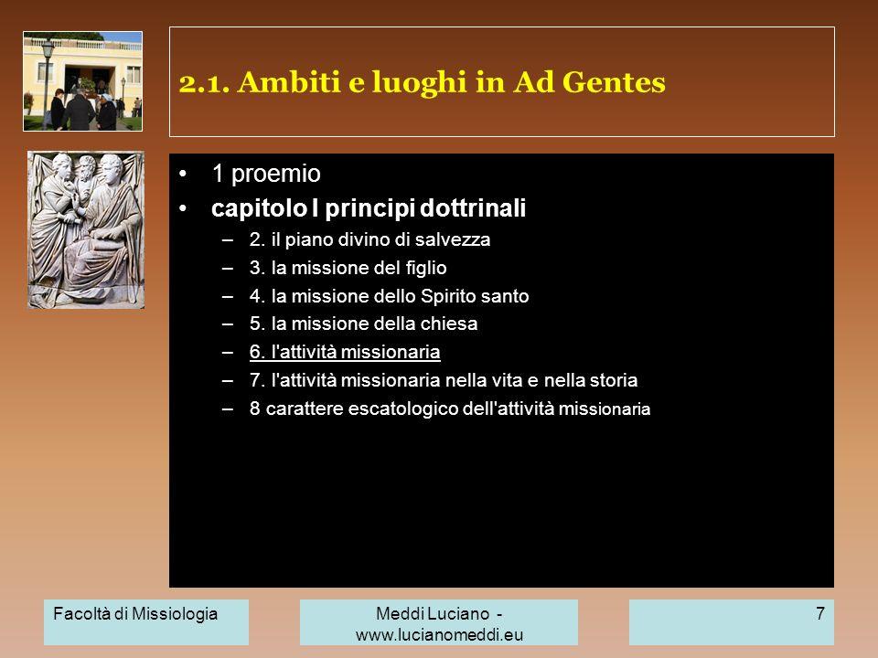 2.1. Ambiti e luoghi in Ad Gentes
