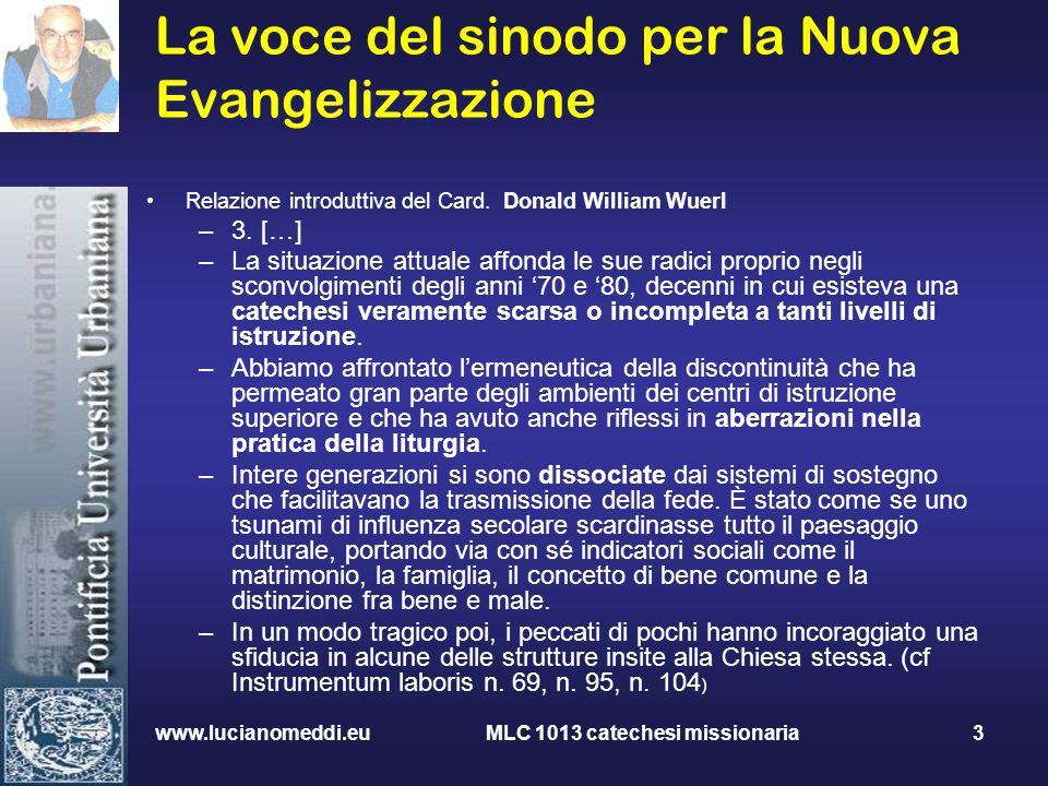 La voce del sinodo per la Nuova Evangelizzazione