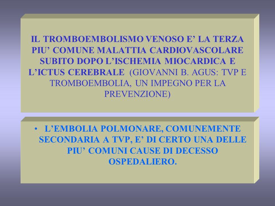 IL TROMBOEMBOLISMO VENOSO E' LA TERZA PIU' COMUNE MALATTIA CARDIOVASCOLARE SUBITO DOPO L'ISCHEMIA MIOCARDICA E L'ICTUS CEREBRALE (GIOVANNI B. AGUS: TVP E TROMBOEMBOLIA, UN IMPEGNO PER LA PREVENZIONE)