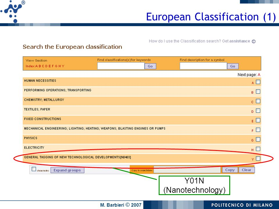 European Classification (1)