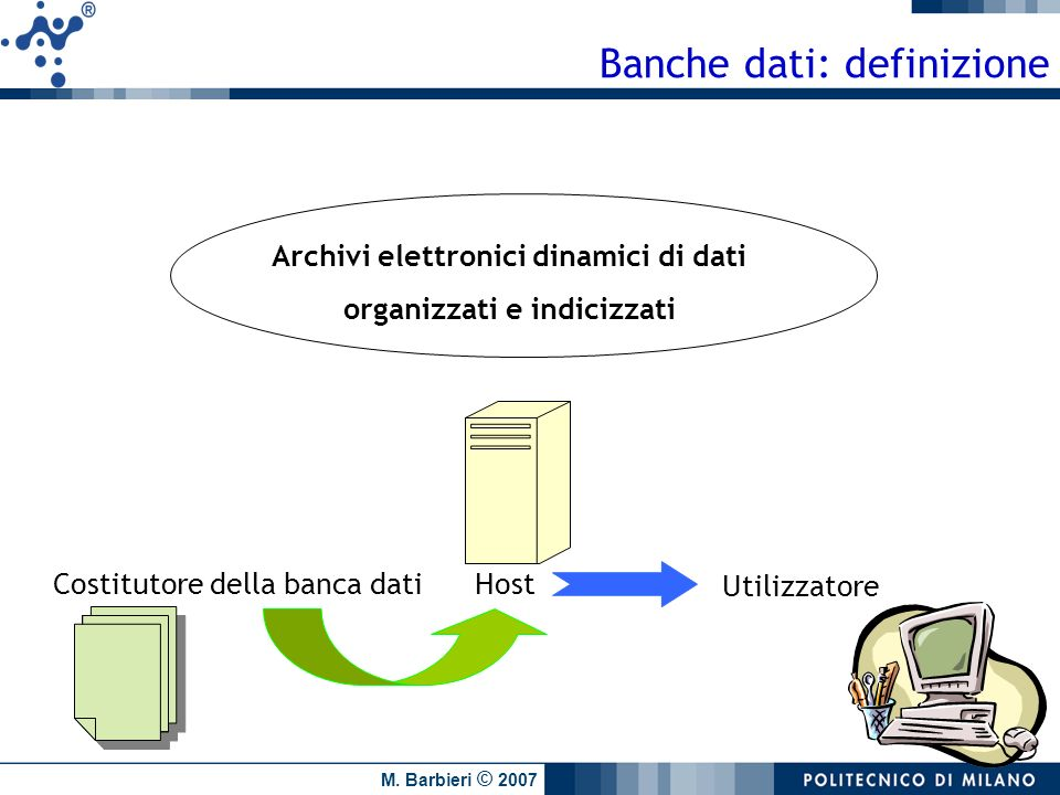 Archivi elettronici dinamici di dati organizzati e indicizzati