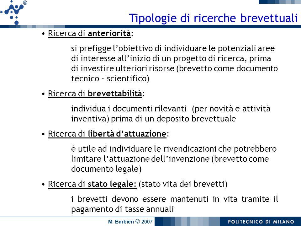 Tipologie di ricerche brevettuali
