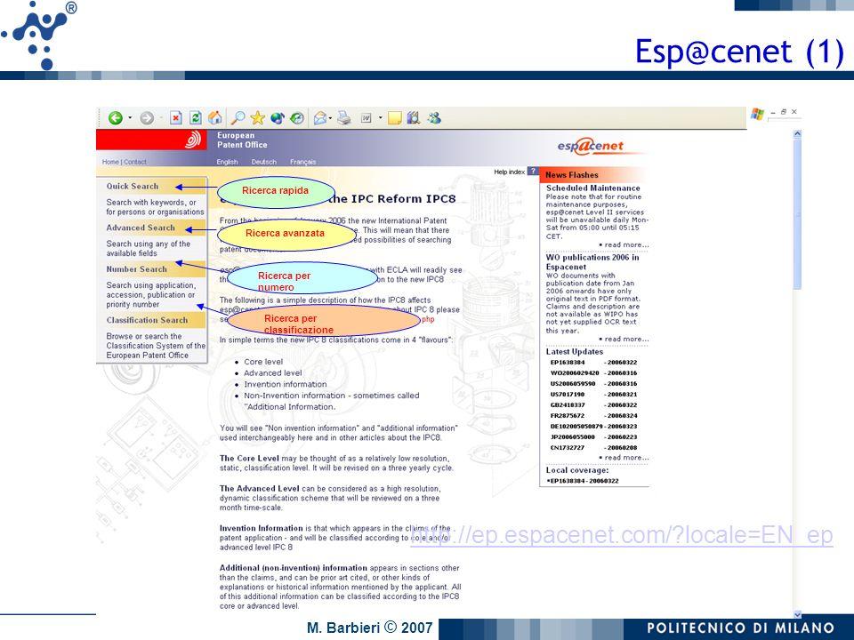 Esp@cenet (1) http://ep.espacenet.com/ locale=EN_ep Ricerca rapida